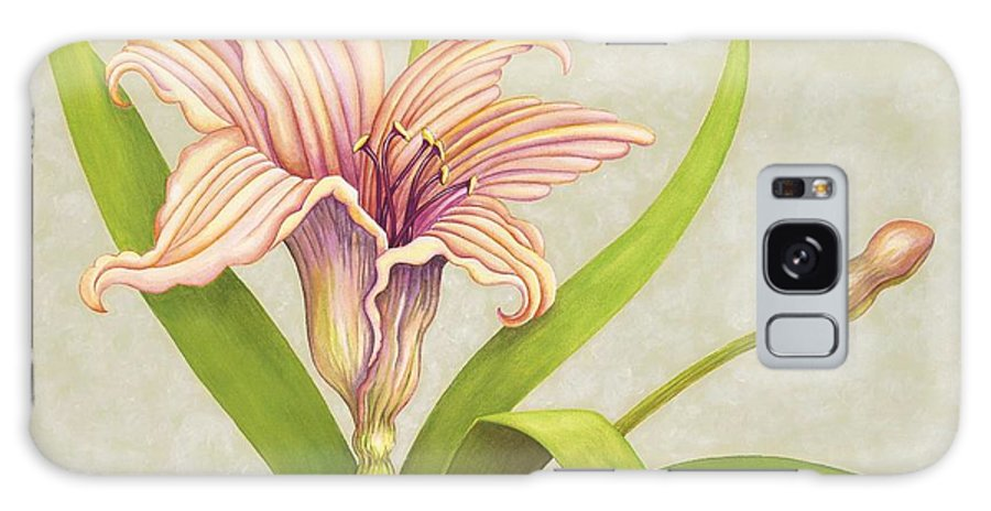 Soft Peach Lily In A Pose Galaxy S8 Case featuring the painting Peach Lily by Carol Sabo