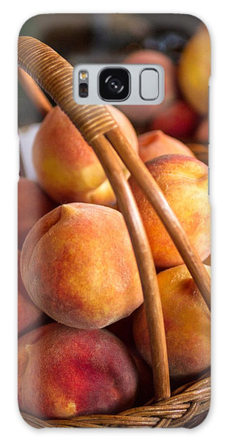 Agriculture Galaxy S8 Case featuring the photograph Peaches In Wicker Basket by Teri Virbickis