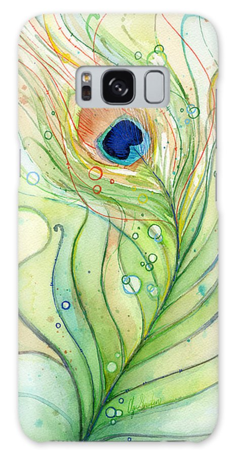 Peacock Galaxy Case featuring the painting Peacock Feather Watercolor by Olga Shvartsur