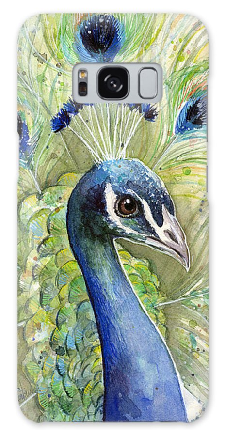 Peacock Galaxy Case featuring the painting Peacock Watercolor Portrait by Olga Shvartsur