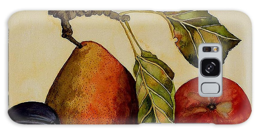 Fruit Galaxy S8 Case featuring the painting Pear Plum Apple by Carol Sabo