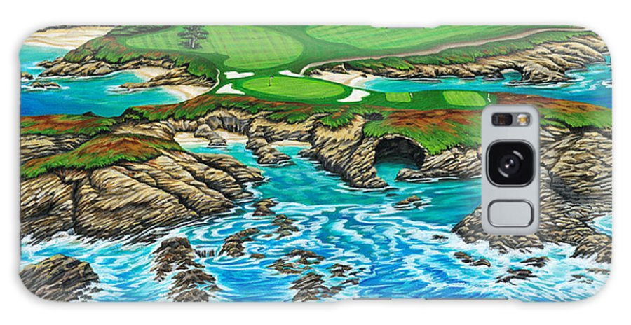Ocean Galaxy Case featuring the painting Pebble Beach 15th Hole-north by Jane Girardot