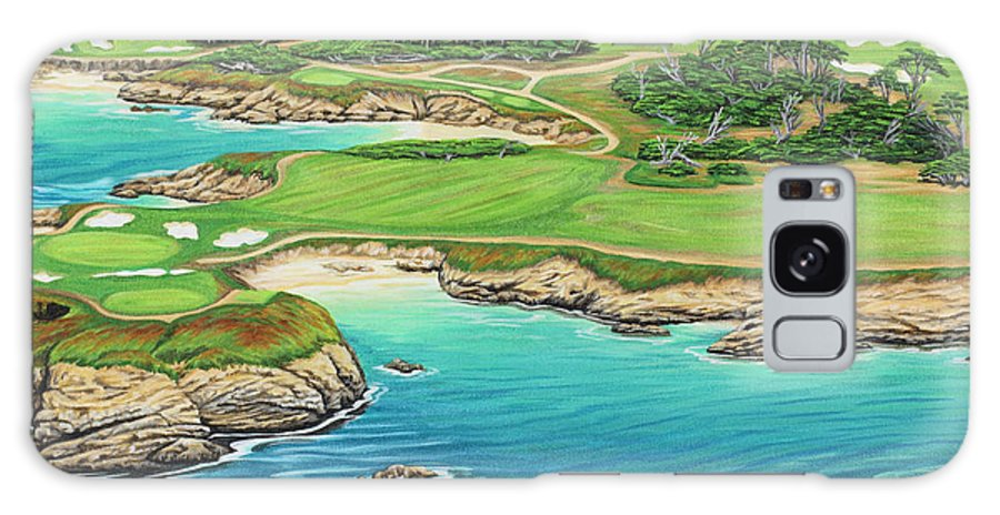 Ocean Galaxy Case featuring the painting Pebble Beach 15th Hole-south by Jane Girardot