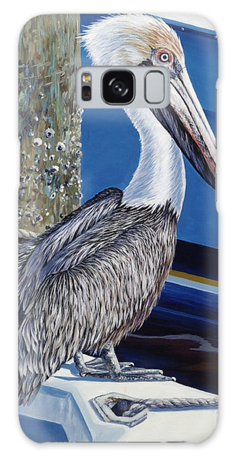Pelican Galaxy S8 Case featuring the painting Pelican Blues by Danielle Perry