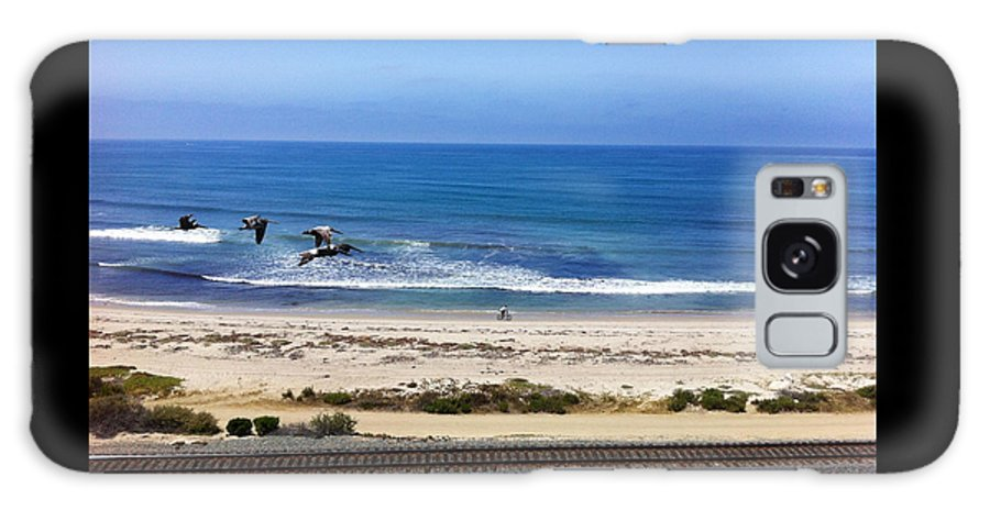 Photography Framed Prints Galaxy S8 Case featuring the photograph Pelicans And Rider by Paul Carter