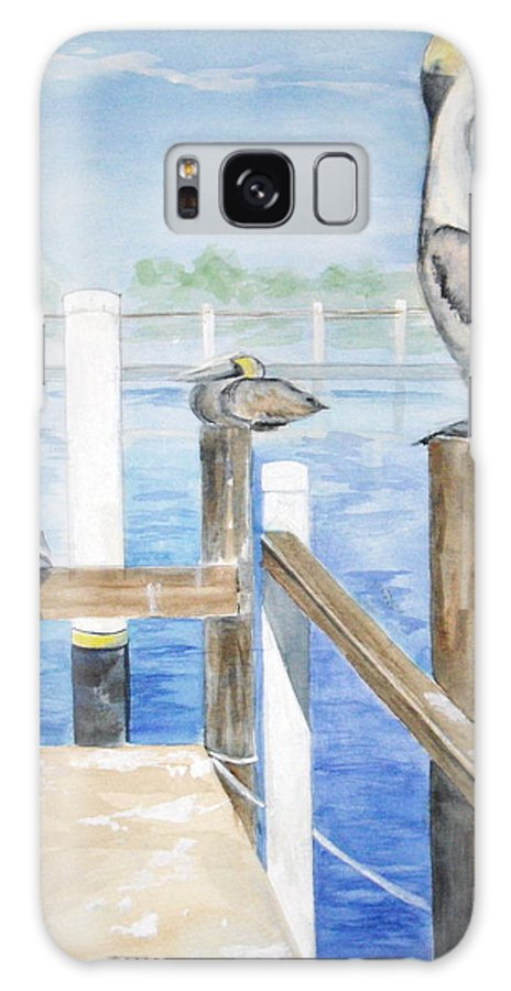 Pelicans Galaxy S8 Case featuring the painting Pelicans by Ellen Canfield