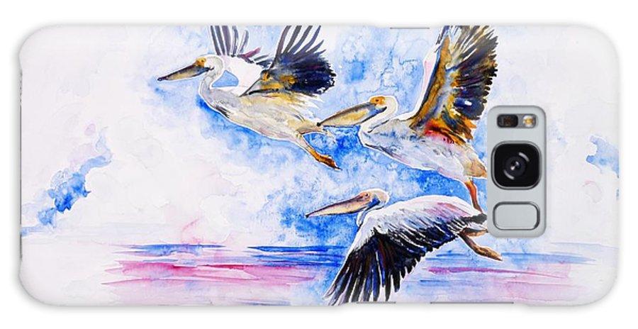 Pelicans Galaxy S8 Case featuring the painting Pelicans by Zaira Dzhaubaeva
