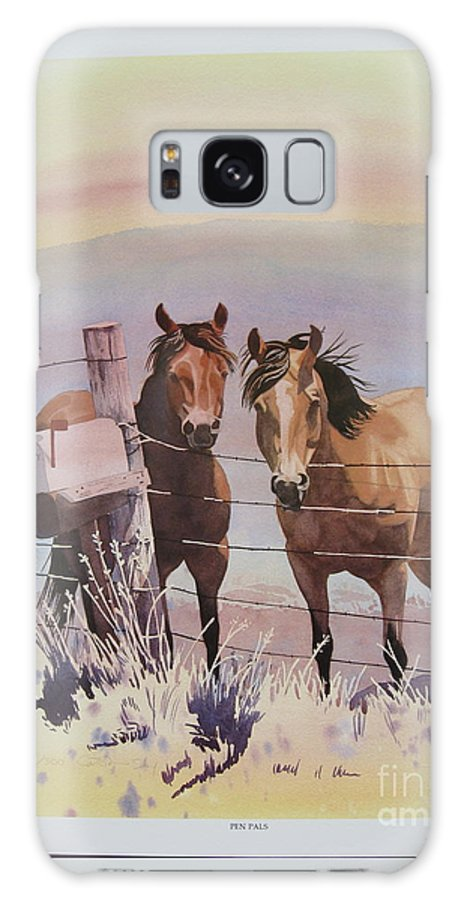 Horses Landscape Galaxy S8 Case featuring the painting Pen Pals by Cathy Sky