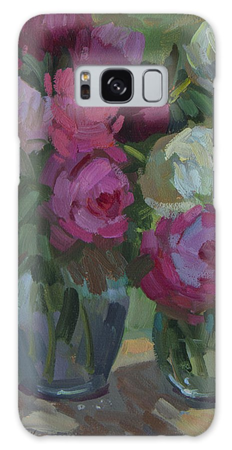 Peonies Galaxy S8 Case featuring the painting Peonies In The Shade by Diane McClary