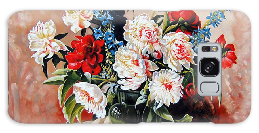 Flowers Galaxy S8 Case featuring the painting Peonies In Vase by Schmidt Roger