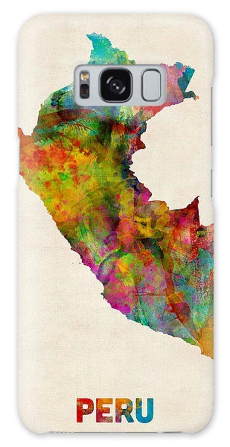 Map Art Galaxy S8 Case featuring the digital art Peru Watercolor Map by Michael Tompsett