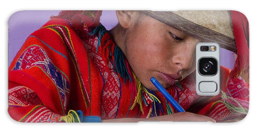 Child Galaxy S8 Case featuring the photograph Peru Writing Lesson In Huilloc Primary School Peru by Dan Hartford