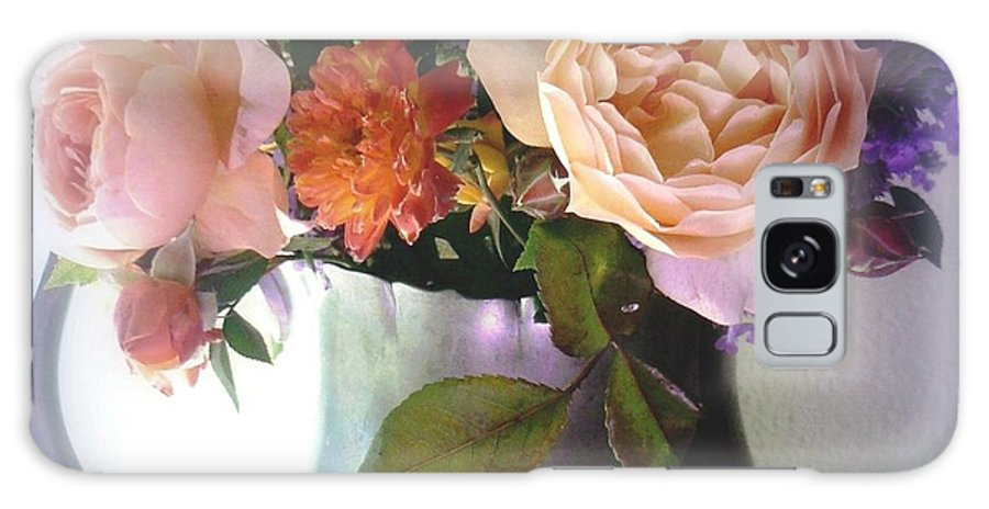 lady Emma Hamilton Galaxy S8 Case featuring the photograph Pewter Vase With Bouquet by Diana Besser