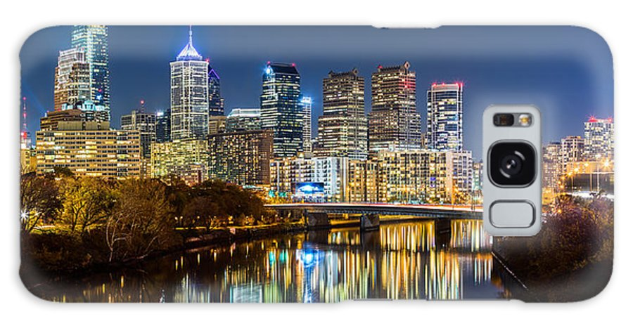 America Galaxy S8 Case featuring the photograph Philadelphia Cityscape Panorama By Night by Mihai Andritoiu