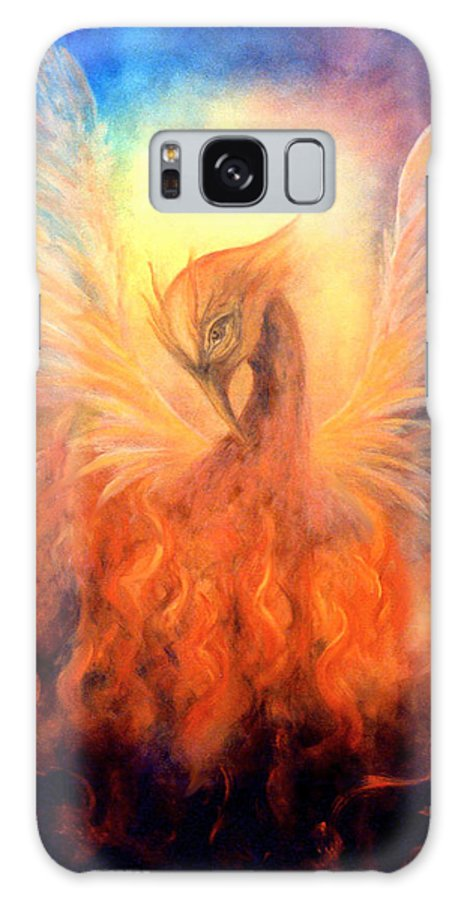 Phoenix Galaxy S8 Case featuring the painting Phoenix Rising by Marina Petro