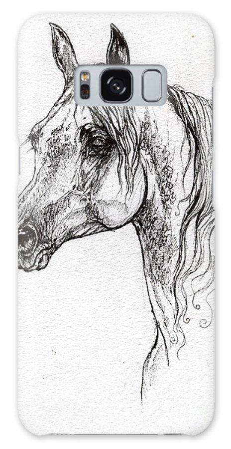 Galaxy S8 Case featuring the drawing Piaff Polish Arabian Horse Drawing 1 by Angel Ciesniarska
