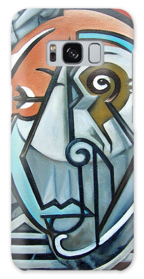 Picasso Cubism Portrait Red Galaxy Case featuring the painting Picasso Bust by Martel Chapman