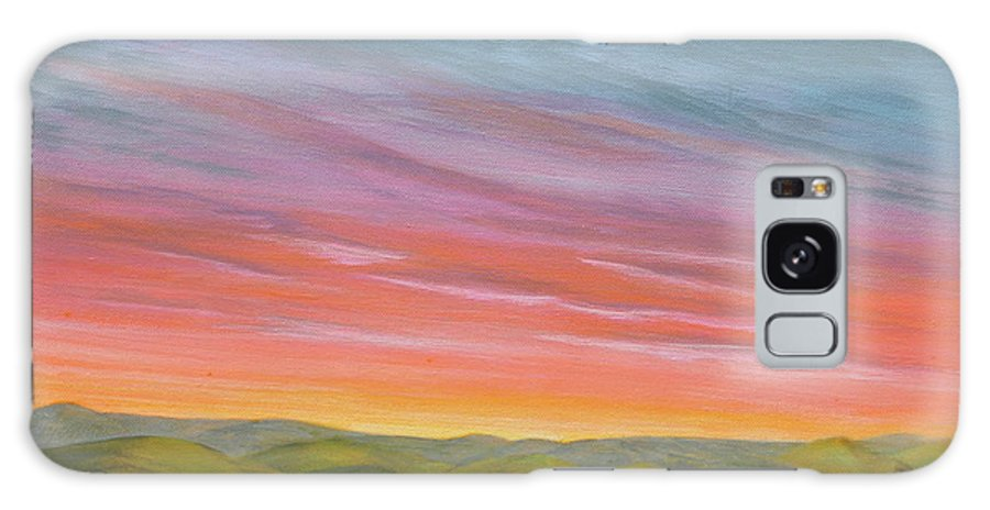 Landscape Prairie Sunset Galaxy S8 Case featuring the painting Pine Ridge Spring Sunset by J W Kelly