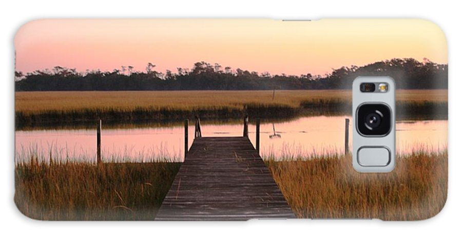 Pink Galaxy Case featuring the photograph Pink And Orange Morning On The Marsh by Nadine Rippelmeyer