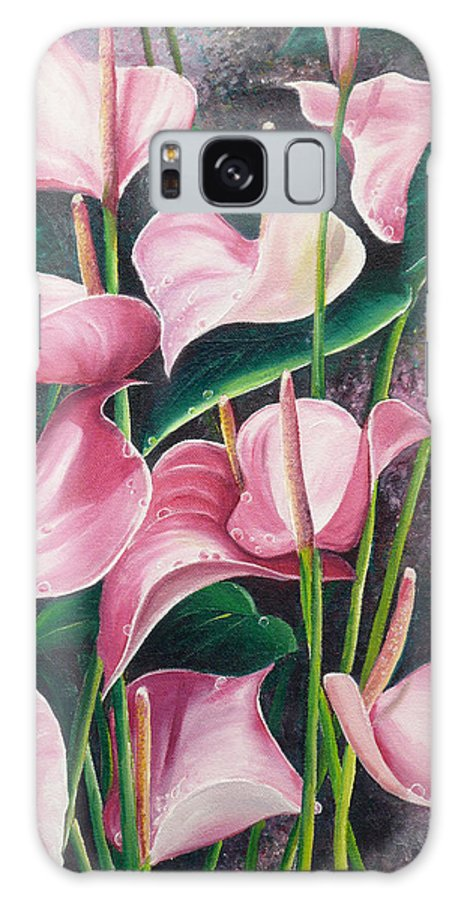 Floral Flowers Lilies Pink Galaxy S8 Case featuring the painting Pink Anthuriums by Karin Dawn Kelshall- Best