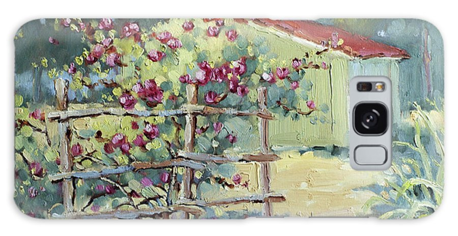 Impressionist Galaxy S8 Case featuring the painting Pink Climbers In Texas by Joyce Hicks