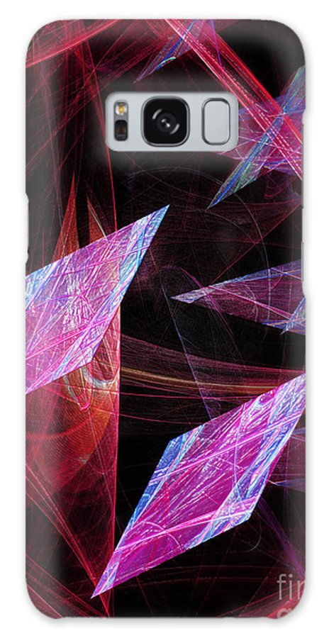 Abstract Galaxy S8 Case featuring the digital art Pink Floating Diamonds by Andee Design