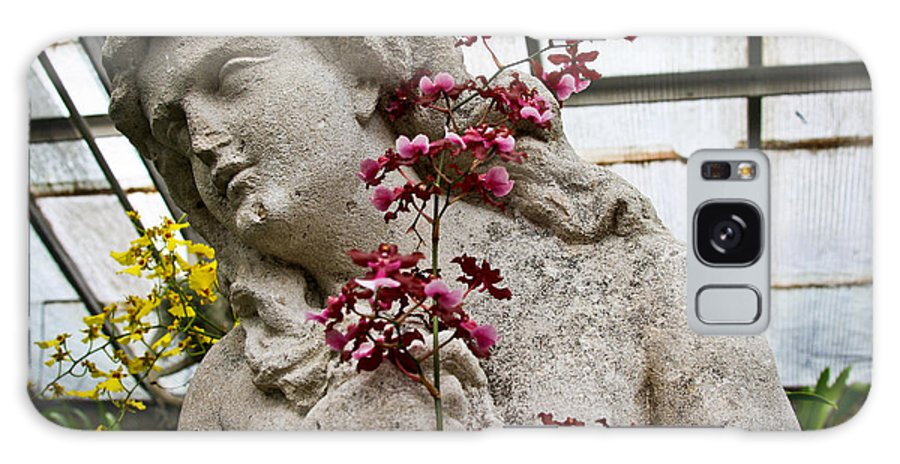 Rochester Galaxy S8 Case featuring the photograph Pink Orchid And Statue by Meegan Streeter
