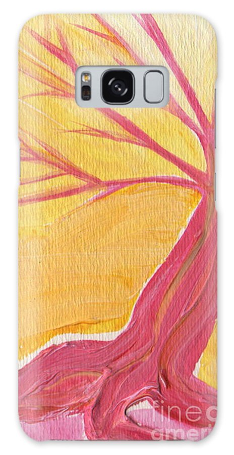 First Star Galaxy S8 Case featuring the painting Pink Tree By Jrr by First Star Art