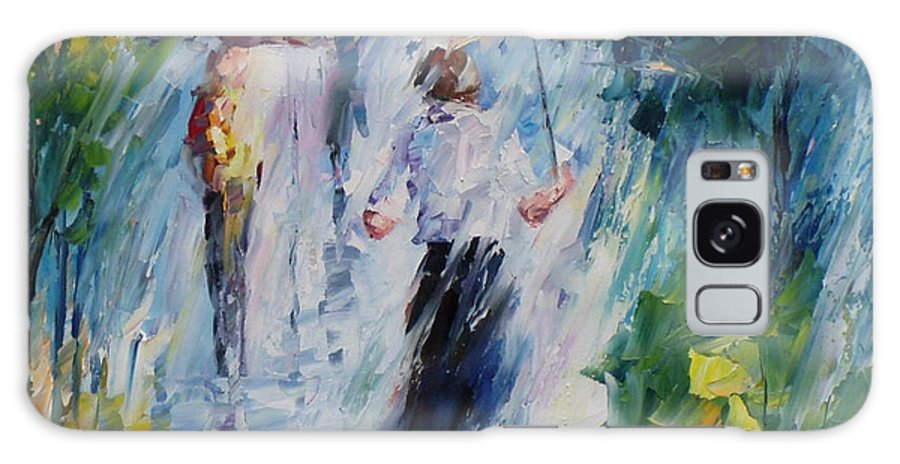 Oil Paintings Galaxy S8 Case featuring the painting Pink Umbrella - Palette Knife Oil Painting On Canvas By Leonid Afremov by Leonid Afremov