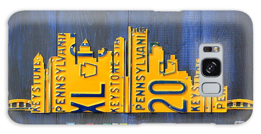 Pittsburgh Galaxy S8 Case featuring the mixed media Pittsburgh Skyline License Plate Art by Design Turnpike