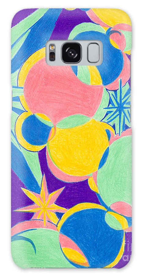 Color Galaxy Case featuring the drawing Planets And Stars by Kim Sy Ok
