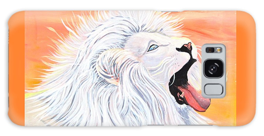 White Lion Galaxy S8 Case featuring the painting Playful White Lion by Phyllis Kaltenbach