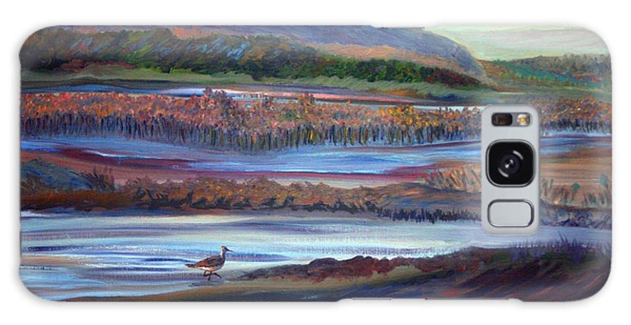 Plum Island Galaxy S8 Case featuring the painting Plum Island Salt Marsh Sunset by Pamela Parsons