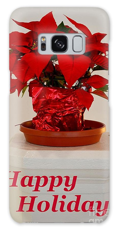 Poinsettia Galaxy S8 Case featuring the photograph Poinsettia On A Pedestal - No 2 by Mary Deal