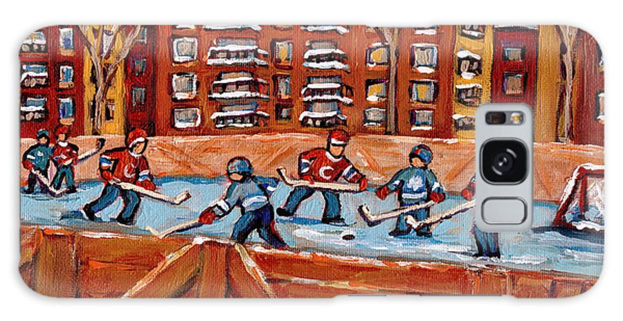 Montreal Galaxy S8 Case featuring the painting Pointe St. Charles Hockey Rink Southwest Montreal Winter City Scenes Paintings by Carole Spandau