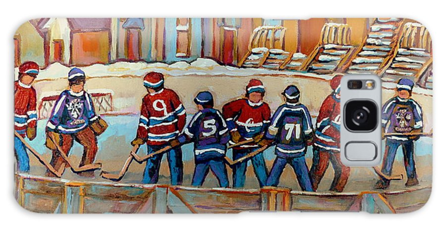 Montreal Galaxy S8 Case featuring the painting Pointe St. Charles Hockey Rinks Near Row Houses Montreal Winter City Scenes by Carole Spandau