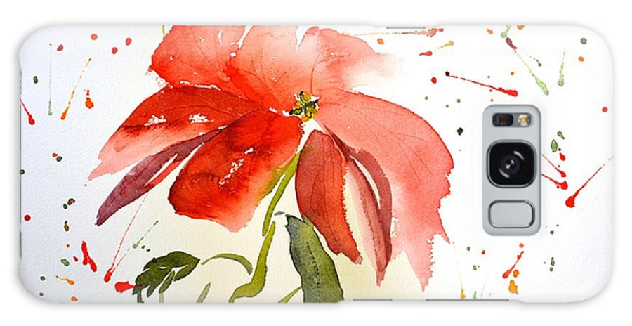 Flower Galaxy Case featuring the painting Pointsettia by Patricia Novack
