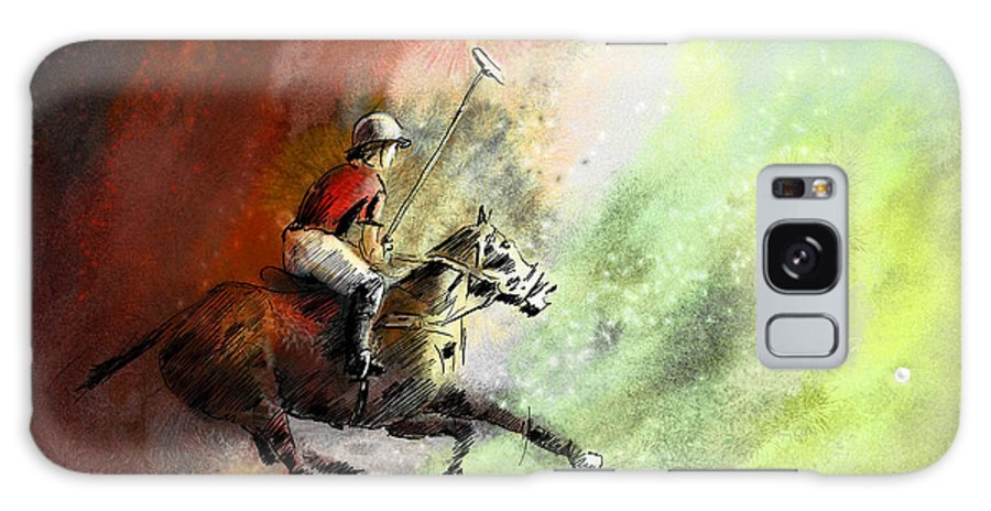 Sports Galaxy S8 Case featuring the painting Polo 01 by Miki De Goodaboom