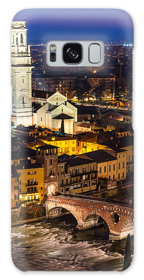 Adige Galaxy S8 Case featuring the photograph Ponte Pietra And Duomo Of Verona Dusk by Emi Cristea