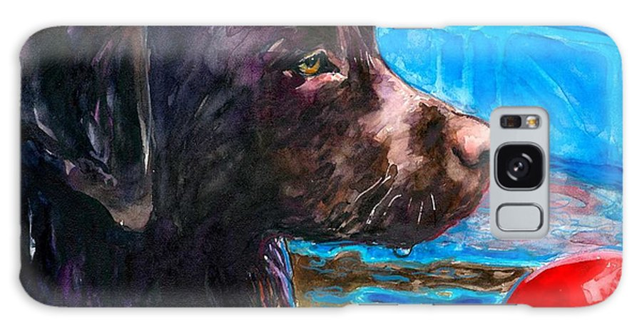 Chocolate Lab Galaxy S8 Case featuring the painting Pool Party Of One by Molly Poole
