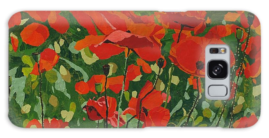 Floral Galaxy Case featuring the painting Poppies by Leah Tomaino