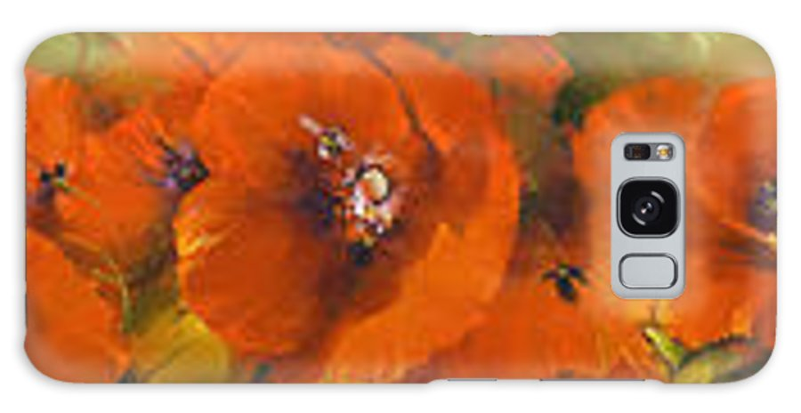 Poppies Galaxy S8 Case featuring the painting Poppies - Triptych by Roman Romanov