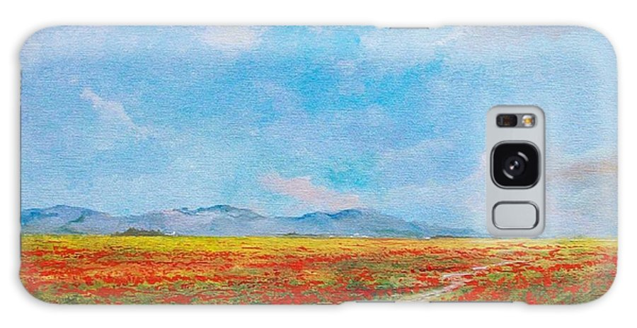 Poppy Field Galaxy S8 Case featuring the painting Poppy Field by Sinisa Saratlic