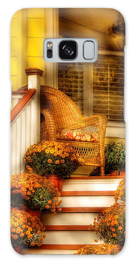 Porch Galaxy S8 Case featuring the photograph Porch - In The Light Of Autumn by Mike Savad