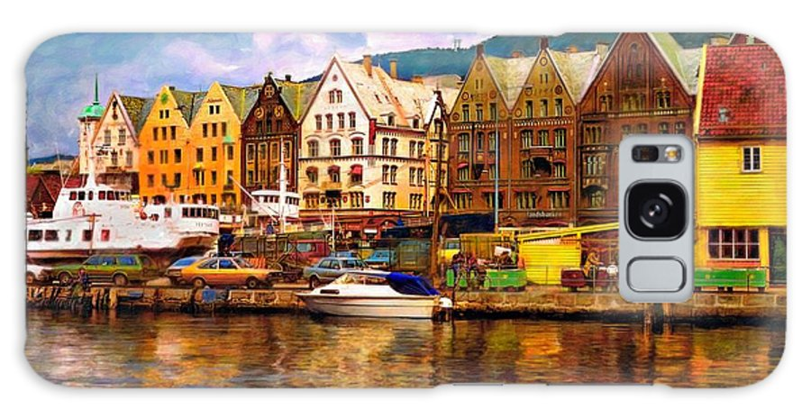 Alesund Galaxy S8 Case featuring the photograph Port Life Watercolor by Steve Harrington