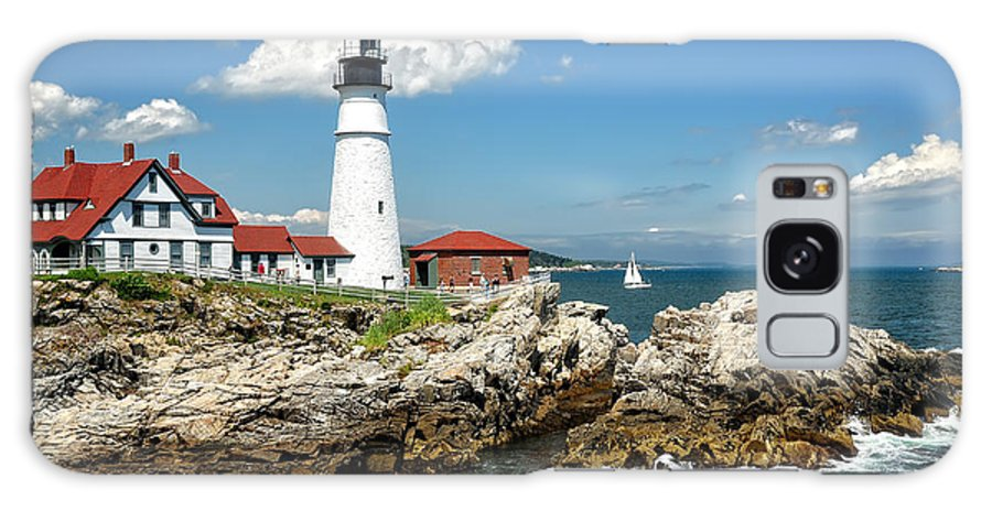 Maine Galaxy S8 Case featuring the photograph Portland Head Light In Maine by Mitchell R Grosky