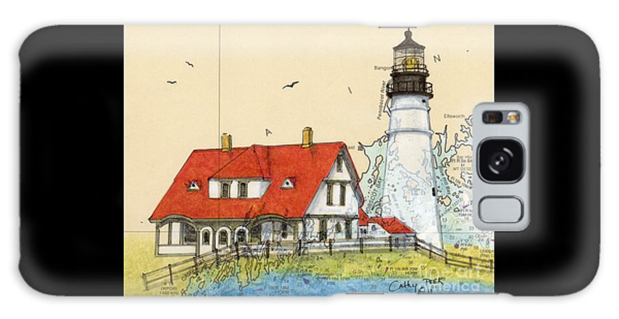 Portland Galaxy S8 Case featuring the painting Portland Head Lighthouse Me Nautical Chart Map Art by Cathy Peek