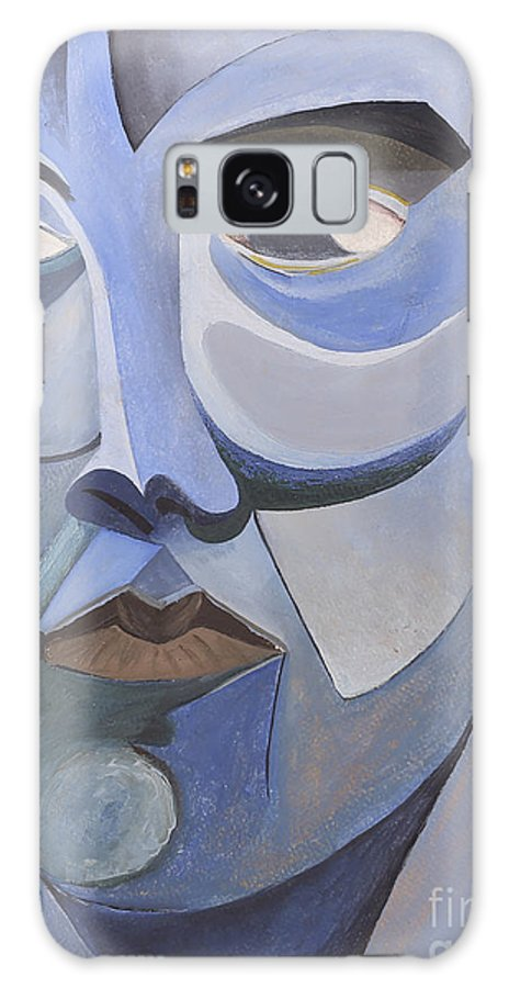 Portrait Galaxy S8 Case featuring the painting Portrait In Blue by Aaron Joslin