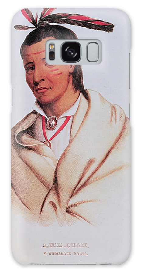 Native American Indian Galaxy S8 Case featuring the photograph Portrait Of A-mis-quam, A Winnebago Brave Coloured Engraving by American School