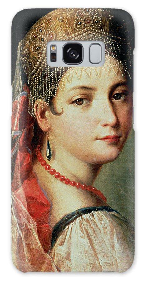 Gandolfi Galaxy S8 Case featuring the painting Portrait Of A Young Girl In Sarafan And Kokoshnik by Mauro Gandolfi
